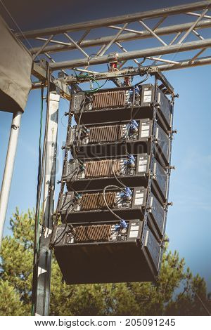 Saint Reverend France - July 24 2016 : Line Array DVB-T4 speaker cluster from manufacturer DBTechnologies on a public concert offered by the town hall for tourists