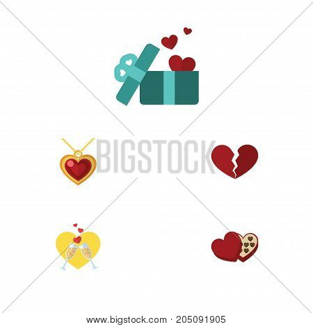 Flat Icon Amour Set Of Shaped Box, Necklace, Celebration And Other Vector Objects