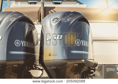 TALMONT SAINT HILAIRE FRANCE - September 23 2016 : close-up of the cowling of a couple of yamaha outboard motors of 250 on a luxury boat