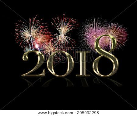 An illustration of happy new year 2018. 3d rendering