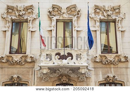 Old House In Milan With Bas-reliefs