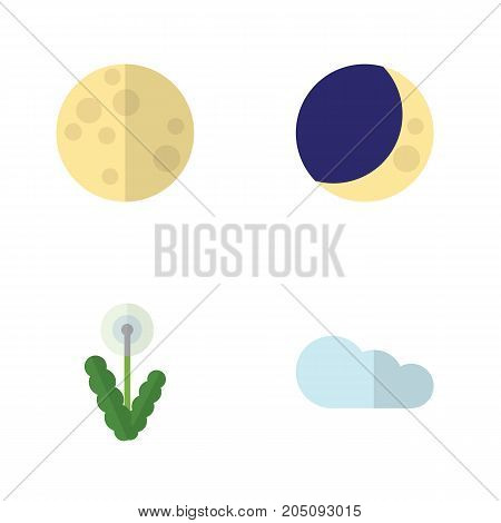 Flat Icon Nature Set Of Overcast, Floral, Half Moon And Other Vector Objects