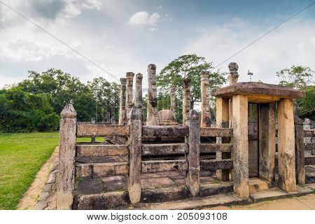 Nissanka Latha Mandapaya Ruins In Polonnaruwa City Temple Unesco