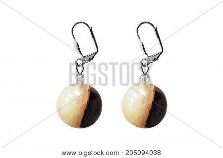 Brown jasper balls earrings isolated over white