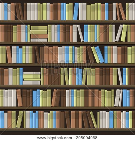 Library Book Shelf Seamless Background. Vector illustration