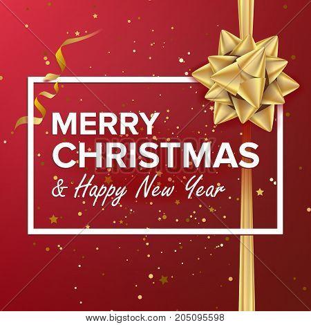 Merry Christmas Card Vector. Christmas Greeting Card. Luxury Xmas Brochure, Flyer Template Design. Holiday Illustration