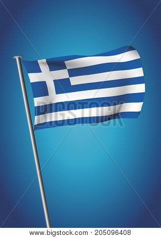 Greece Flag Waving On The Sky Vector Vertical