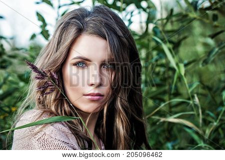 Fashion Model Girl with Long Healthy Hair. Beautiful Woman with Healthy and Beauty Brown Hair
