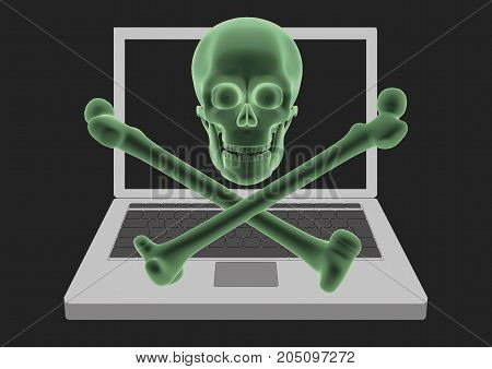 Laptop Computer Infected By Virus