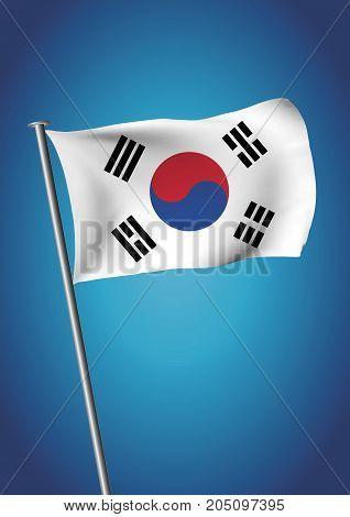 South Korea Flag Waving On The Sky Vector Vertical