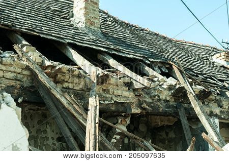 Part of a abandoned civilian house in East Ukraine damaged by grenade explosion in the war zone
