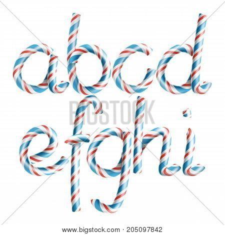 Letters A, B, C, D, E, G, G, H, I. Vector. 3D Realistic Candy Cane Alphabet Symbol In Christmas Colour New Year Letter Textured With Red, Blue. Typography Striped Craft Isolated. Xmas Art