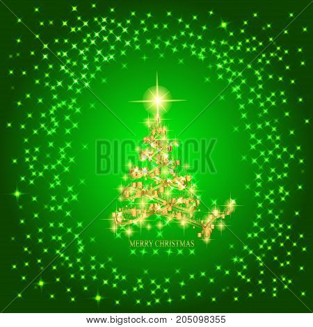 Abstract background with christmas tree and stars. Illustration in green and gold colors.