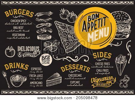 Food menu for restaurant and cafe. Design template with hand-drawn graphic illustrations.