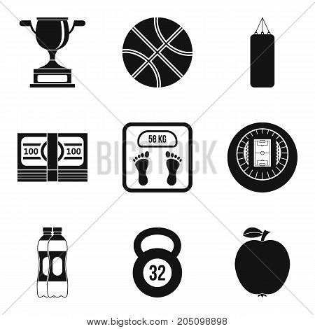 Sport fight icons set. Simple set of 9 sport fight vector icons for web isolated on white background