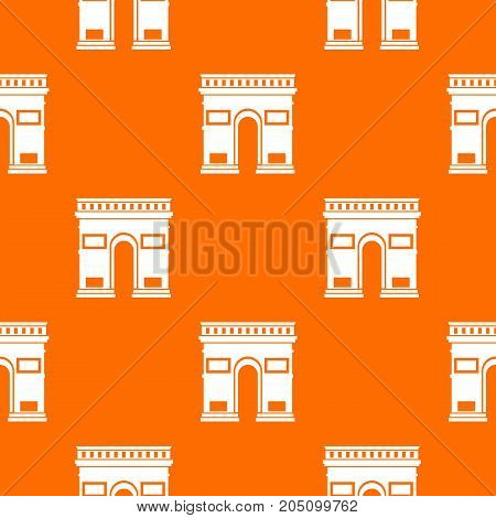 Triumphal arch pattern repeat seamless in orange color for any design. Vector geometric illustration