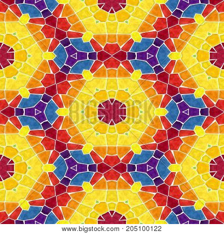 mosaic kaleidoscope seamless pattern texture background - colorful colored with white grout