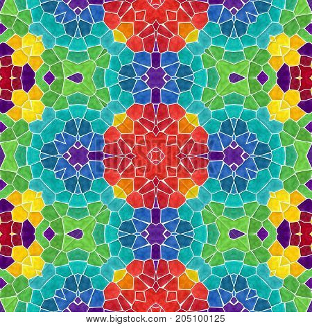 mosaic kaleidoscope seamless pattern texture background - full color colored with white grout