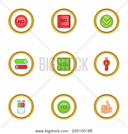Choice icons set. Cartoon style set of 9 choice vector icons for web design
