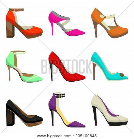 Woman High Heel Shoes Set. Fahionable Colorful Shoes in Cartoon Style for Banners and Fliers of Shops. Vector Illustration of Different Types of Shoes