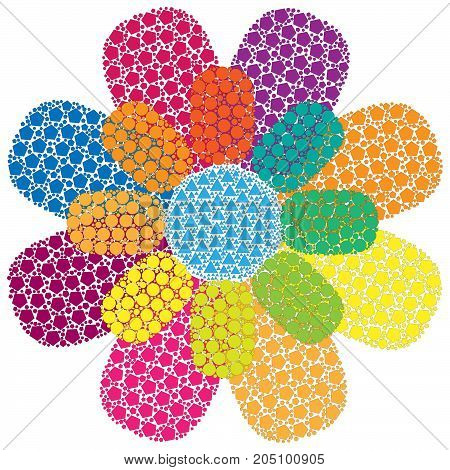Сolorful flower of point. Abstract сolorful art for background.