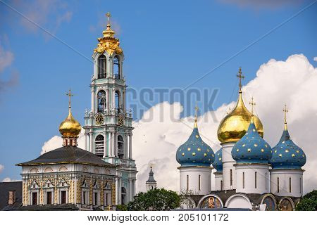 Big Bell tower and Cathedral of the Dormition in the Trinity Lavra of St. Sergius. Sergiev Posad, Moscow region. Golden ring, Russia.