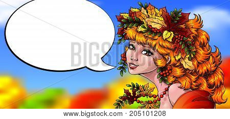 The woman with a red flowing hair in an autumn wreath from leaves lovely smiles and an empty speech bubble in style of cartoon Vector full-color illustration.