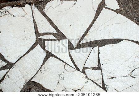 Cracked White Tile Texture Background