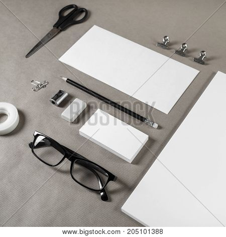Blank stationery set. Corporate identity template on craft paper background. Responsive design mockup.