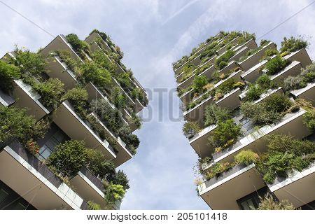 Milan, Italy - September 15, 2016: Vertical forest building called Bosco verticale in Italian, Milan, Italy