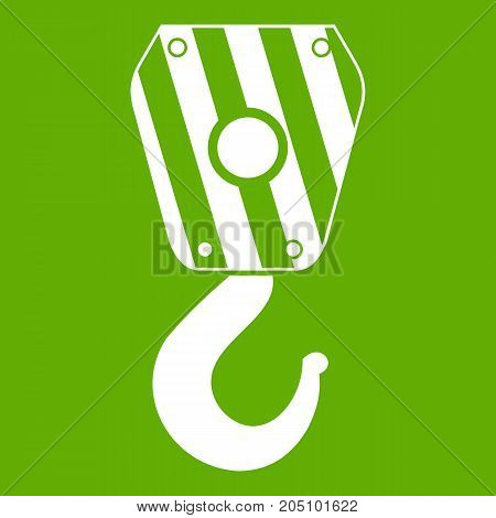 Crane hook icon white isolated on green background. Vector illustration