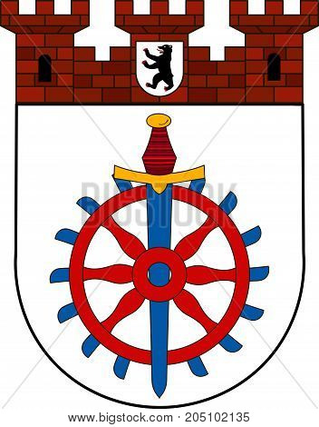 Coat of arms of Weissensee is a locality in the borough of Pankow in Berlin Germany. Vector illustration from the
