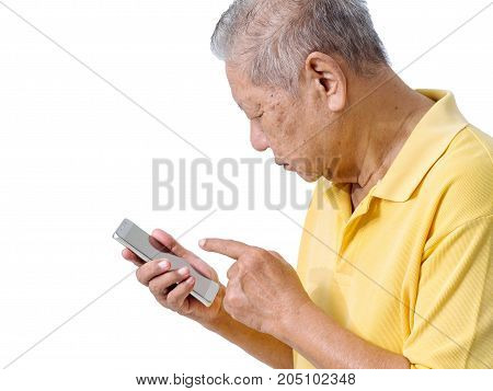 elderly asian men are using a smartphone to play an application for the elderly. easy to use smartphone online banking payment online and shopping online concept