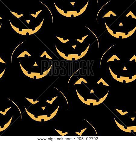Scary  jack-o-lantern Halloween seamless patterns. Childish background. Holiday design. Vector illustration.