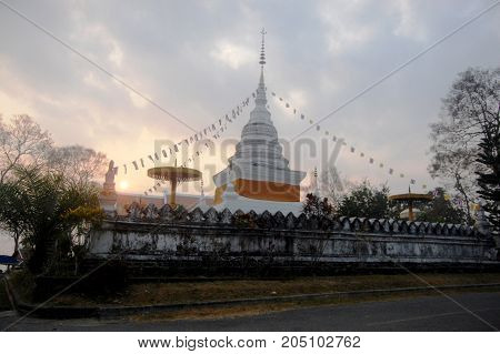 White Chedi Of Wat Phra That Khao Noi Temple In Nan, Thailand