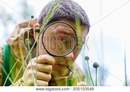 Photo of brunet biologist with magnifying glass in summer forest