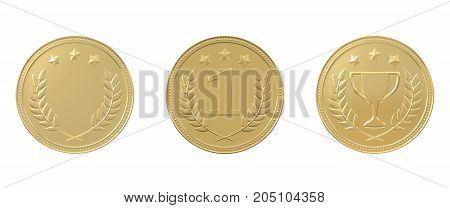 Set of 3 golden medals - with stars, trophy, 1st place and blank. Sports award, product ranking, best price, first place concept. Graphic design elements isolated on white background. 3D illustration