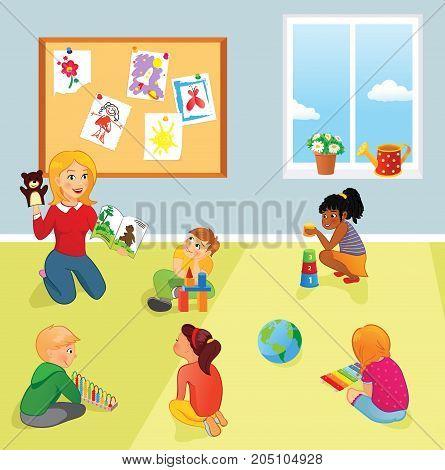 Nursery or elementary school teacher and kids in a room. Teacher reads book, children listen and play. School, preschool or kindergarten or educational kids club scene.