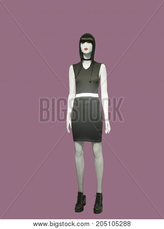 Full-length female mannequin wearing black, isolated.  No brand names or copyright objects.