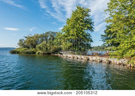 A view of a small island at Gene Coulon Park in Renton Washington.