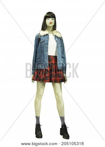 Full-length female mannequin dressed in warm jeans jacket. Isolated on white background. No brand names or copyright objects.