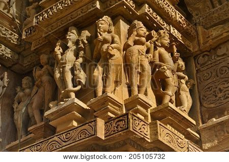 Erotic Human Sculptures at Vishvanatha Temple Western temples of Khajuraho Madhya Pradesh India. Built around 1050 Khajuraho is UNESCO World heritage site and is tourist destination for erotica.