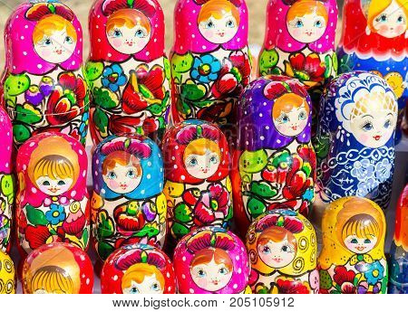 Samara Russia - September 15 2017: Large selection of matryoshkas Russian souvenirs at the gift shop. Nesting dolls are the most popular souvenirs from Russia