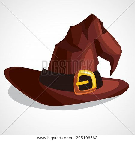 Vector illustration of a cartoon witch hat. Witch hat with buckle isolated on white background