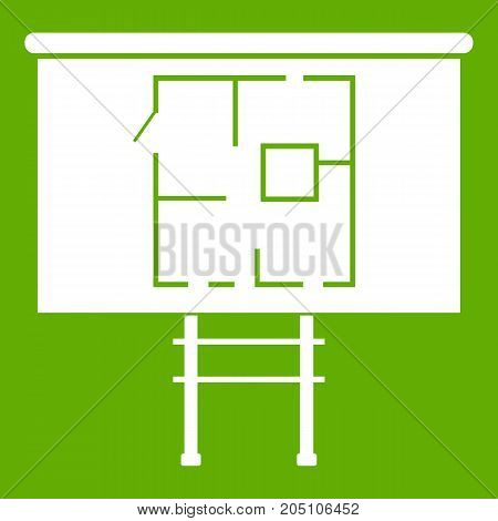 Project of house on a board icon white isolated on green background. Vector illustration