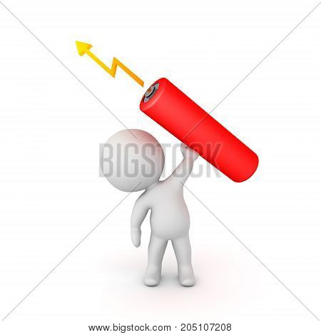 3D Character lifting up a giant double a battery. Isolated on white.