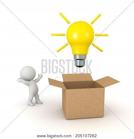 3D Character in awe of idea coming outside of box. Isolated on white.