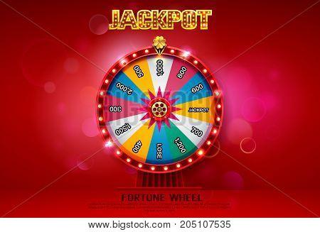 fortune wheel spinning on bokeh background vector illustration
