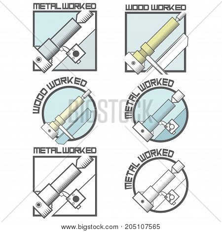 an illustration consisting of six images of a lathe in the form of a symbol