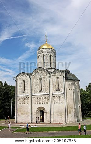 Vladimir Russia - 16 July 2017: Cathedral of Saint Demetrius. Church is famous for its white-stone carvings - its walls are decorated with 600 reliefs depicting saints mythical and real animals.